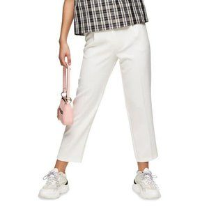 Topshop White Straight Leg Crop Trousers 6